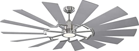 Monte Carlo 14PRR62BSD Prairie Windmill Energy Star 62 Outdoor Ceiling Fan with LED Light and Hand Remote Control, 14 Wood Blades, Brushed Steel