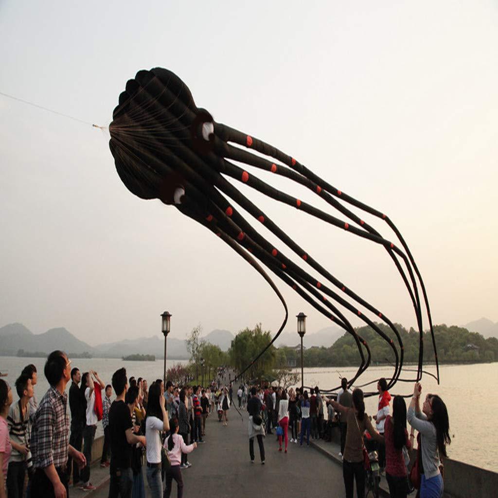 Fine 8m Huge Octopus para foil Kite with Handle & String, Beach Park Garden Playground Outdoor Fun (Black)