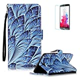 LG X5 Case [with Free Screen Protector], Funyye Stylish Vintage Pattern Magnetic PU Leather Wallet Case with [Lanyard Strap] and [Credit Card Holders Slots] Protection Case for LG X5 -Peacock flower