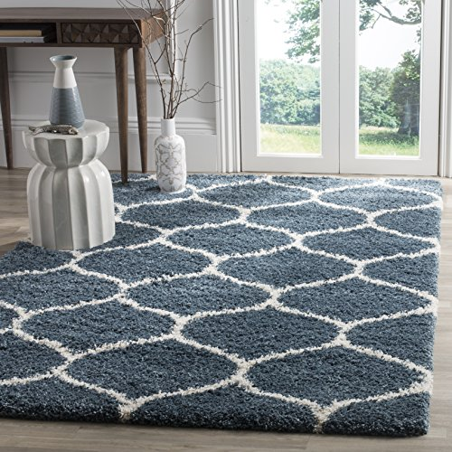Slate Blue Rectangular Rug - Safavieh Hudson Shag Collection SGH280L Slate Blue and Ivory Moroccan Ogee Plush Area Rug (4' x 6')