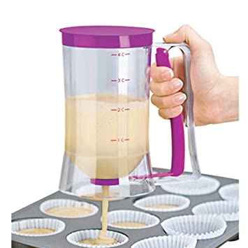 bestomz Pancake Batter Dispensador hornear herramienta con la medición de etiqueta: Amazon.es: Hogar