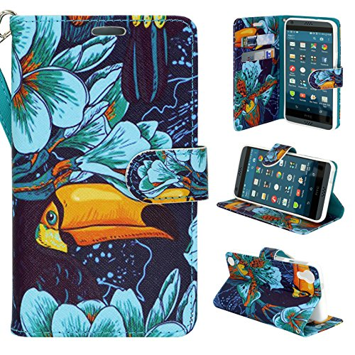 HTC Desire 530 Case, Customerfirst - Design Flip Fold Premium PU Leather Wallet Pouch Case for HTC Desire 530 Free Emoji Keychain - Desire Wallet Phone Htc