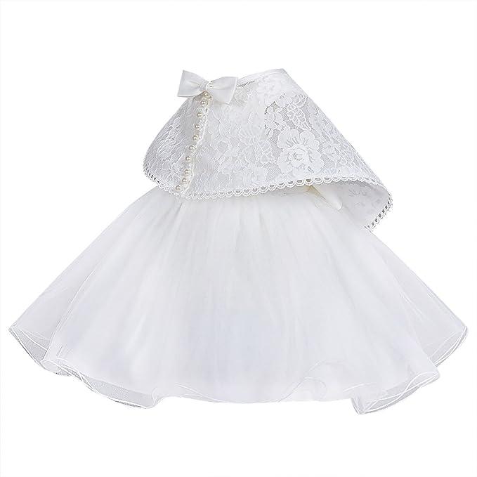 Happy Cherry - Vestido Tutu de Boda Bautizo para Bebés Recien nacido Niñass set de 2 Traje de Fiesta con Chal - Beige: Amazon.es: Ropa y accesorios