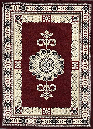 Americana Traditional Area Rug Red Black Beige Brown Persian Oriental Design 121 (6 Feet X 9 Feet)