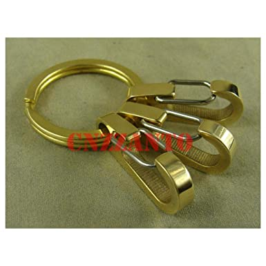 Outdoor Key ring Brass snap hooks clip EDC keychain 3pcs hooks + brass ring