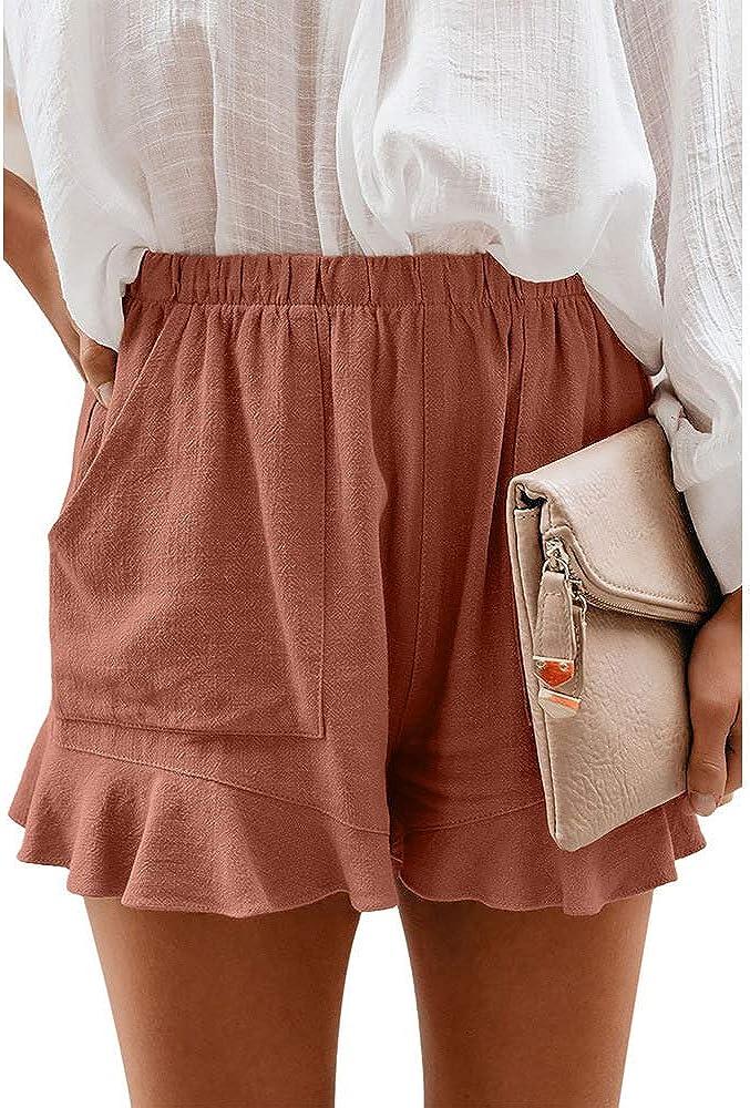 Pantalones Cortos De Verano Pantalones Cortos De Playa De Cintura Elastica De Color Solido Pantalones Anchos Con Volantes Pantalones Cortos Para Mujer Pantalones Cortos