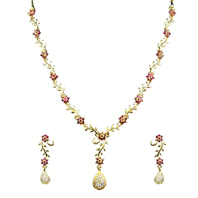 707a9a82a ... Plated Imitation Fashion Jewellery AD American Diamond Necklace Set for  Women (White) Online at Low Prices in India