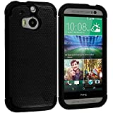 Cell Accessories For Less (TM) Black / Black Hybrid Rugged Hard/Soft Case Cover for HTC One M8 Bundle (Stylus & Micro Cleaning Cloth) - By TheTargetBuys
