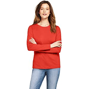 14369dc6 Lands' End Women's Tall Supima Cotton Long Sleeve T-Shirt - Relaxed Crewneck