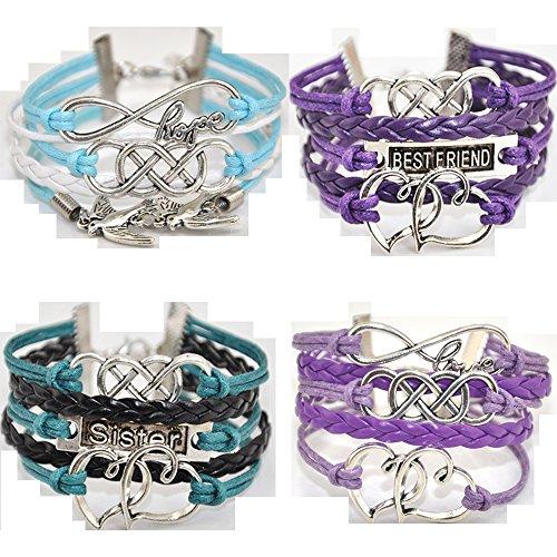 Bracelets 36 Friendship (ACUNION™ Twinkle Handmade Pretty Infinity Heart Birds Best Friend Fashion Charm for Friendship Gift Party Accessory Leather Bracelet (4 Pieces/lot))