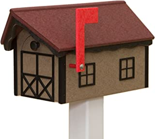 product image for Recycled Poly Plastic Barn Mailbox USA Handmade (Cherry & Black)