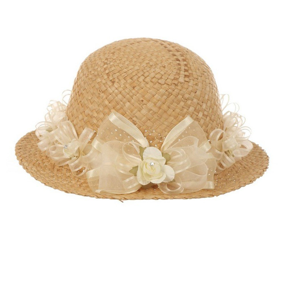 Girls Tan Ivory Flower Embellished 19 Circumference 1.5 Brim Straw Hat