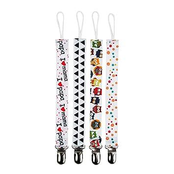 Da.Wa 4Pcs Cadenas para chupetes chupetero bebé clips con adorable diseño Diseño Unisexo y Adorable (chupetes de clip 2)