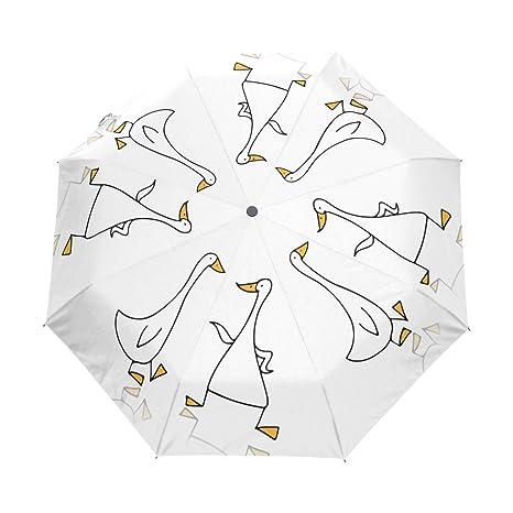 Amazon Com Travel Umbrella Tow Funny Goose Automatic Open Closed