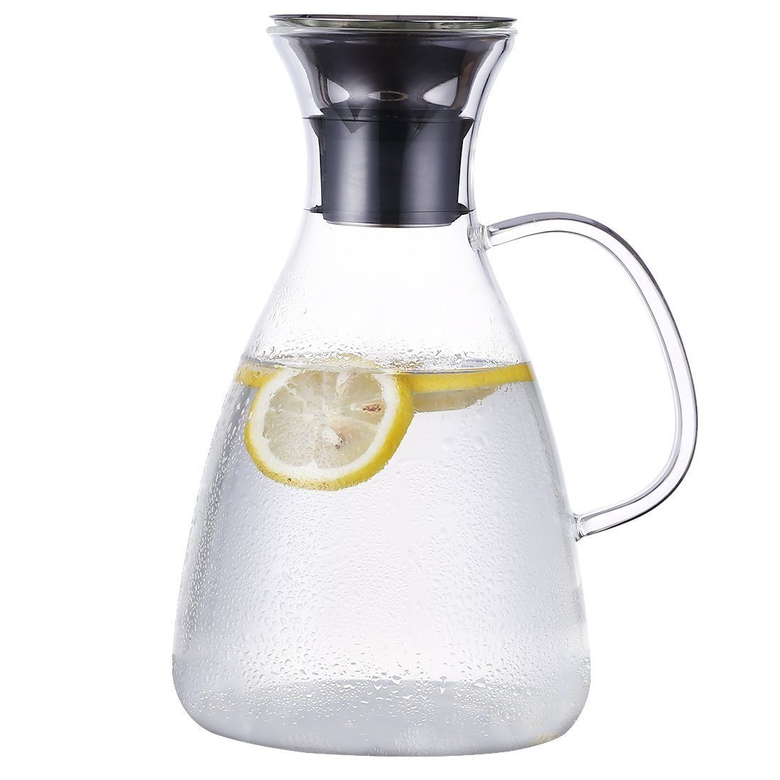 ONEISALL GYBL436 Glass Carafe with Stainless Steel Flip-top Lid and Handle, Hot and Cold Glass Water Pitcher, Tea/Coffee Maker & Cafe, Iced Tea, Beverage Pitcher for Decanting and Serving Wine, 1500ML Huizhou Weifan Trading Co. Ltd
