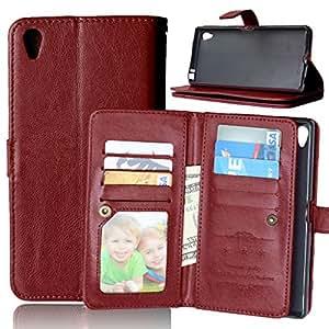 Xperia Z5 Plus Carcasa + Cable Libre, TOMYOU Funda pistolera, PU Billetera Case [Bolso][Soporte de la función][ranuras de tarjeta][Fotos groove] para Sony Xperia Z5 Plus (E6883) (marrón)