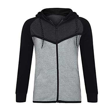 Amazon.com: Outeck Hoodies for Men Splicing Casual Pullover ...