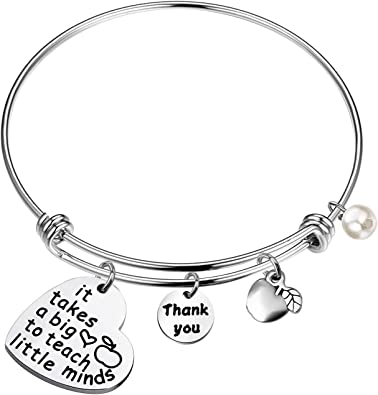 Engraved /'It Takes A Big Heart To Teach Little Minds/' Gifts on Keyring//chain Top