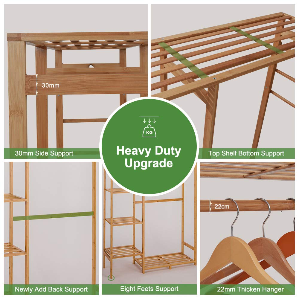 Amazon.com: ISINO - Perchero grande de madera de bambú con ...