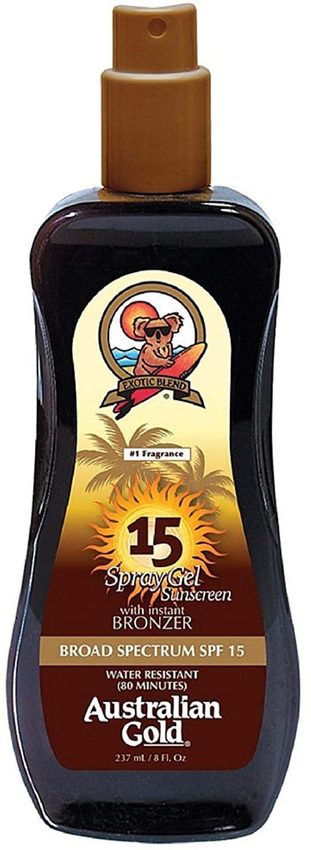 Australian Gold Spray Gel Sunscreen with Instant Bronzer SPF 15 8 oz