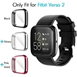 iCoold [3 Pack] Screen Protector Case Design For Fitbit Versa 2,Ultra Slim Soft TPU Full Cover Case All-Around Protective Plated Bumper Shell[Scratch-Proof] for Fitbit Versa 2 (Black+Silver+Pink-Gold)