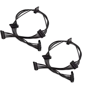 Cable Matters 2-Pack 15 Pin SATA to 4 SATA Power Splitter Cable - 18 Inches