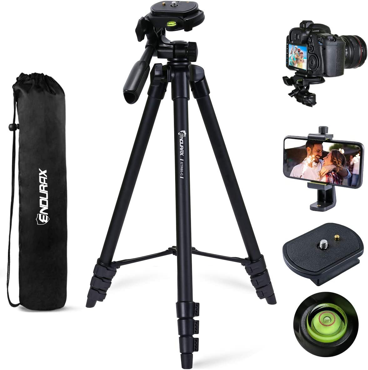 Endurax 60'' Camera Phone Tripod Stand for DSLR Canon Nikon with Universal Phone Mount, Bubble Level and Carry Bag : Camera & Photo