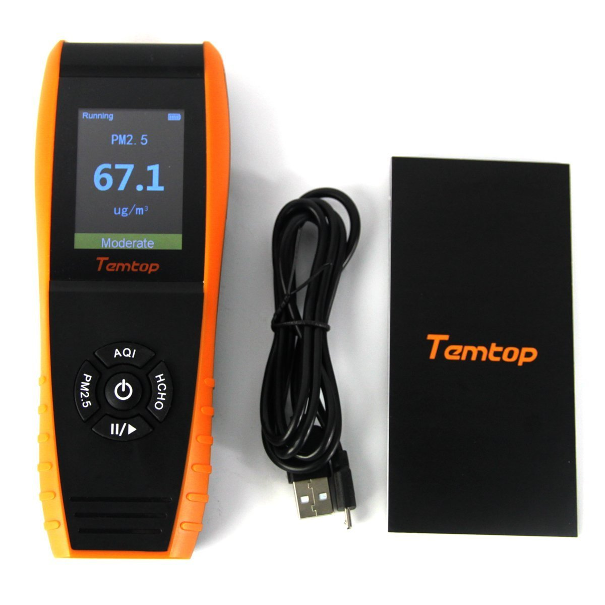 Temtop LKC-1000S+ Air Quality Detector Professional Formaldehyde Monitor Temperature and Humidity Detector with PM2.5/PM10/HCHO/AQI/Particles Recording Curve