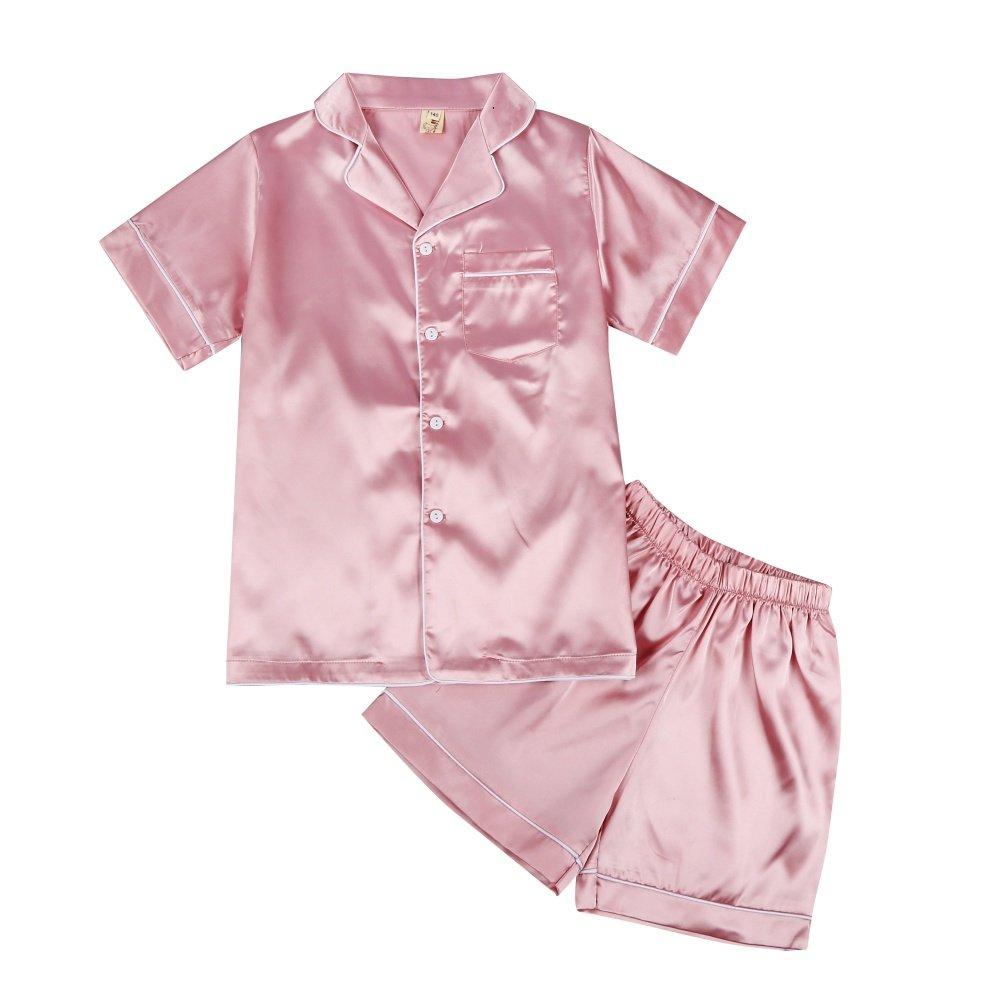 e4c728264 Minuya Baby Boys Girls Silk Pajamas Short Sleeves Nightwear Spring ...
