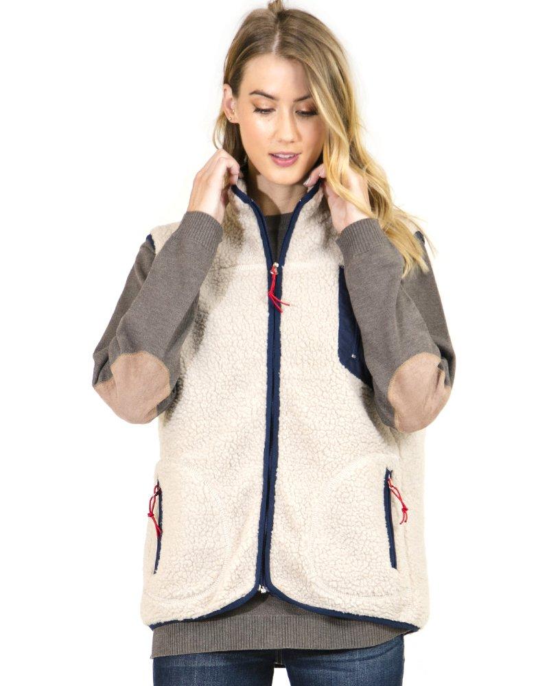 Preppy Doll Women's Fleece Vest With Multi Zipper (Large)