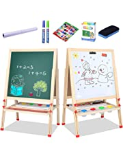 Kids easel for art, Deluxe Drawing Board for Toddlers, Paper roll, Dye Cups, Storage trays And Accessories, Height Adjustable Double Sided Magnetic Wooden Easel, ChalkBoard & Magnetic Whiteboard (57 Inch)