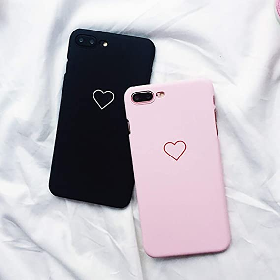 6f09e28b72 Amazon.com: Love Heart Painted Graphic Case for iPhone Xs XR XS Max X 5 5S 6  6S 7 8 Plus Couples Back Cover Ultra Thin Matte Hard PC,Pink,for iPhone 7:  Cell ...