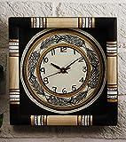 Unravel India Black Madhubani Painted Wooden Wall Clock