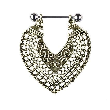 1 piercing para pezón de estilo étnico con forma de corazón para mujer, estilo retro