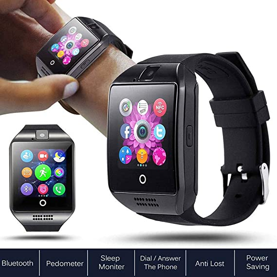 Waterproof Bluetooth Touch Screen Smart Watch SIM TF Card Q18 for Android iPhone (Black)