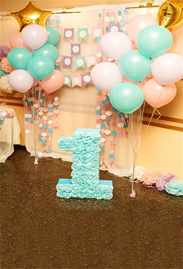 Laeacco 5x7ft Vinyl Photography Backdrop 1st Birthday Decorations Girl Indoor Pink and Blue Balloons Scene Photo Background Children Baby Adults Portraits Backdrop