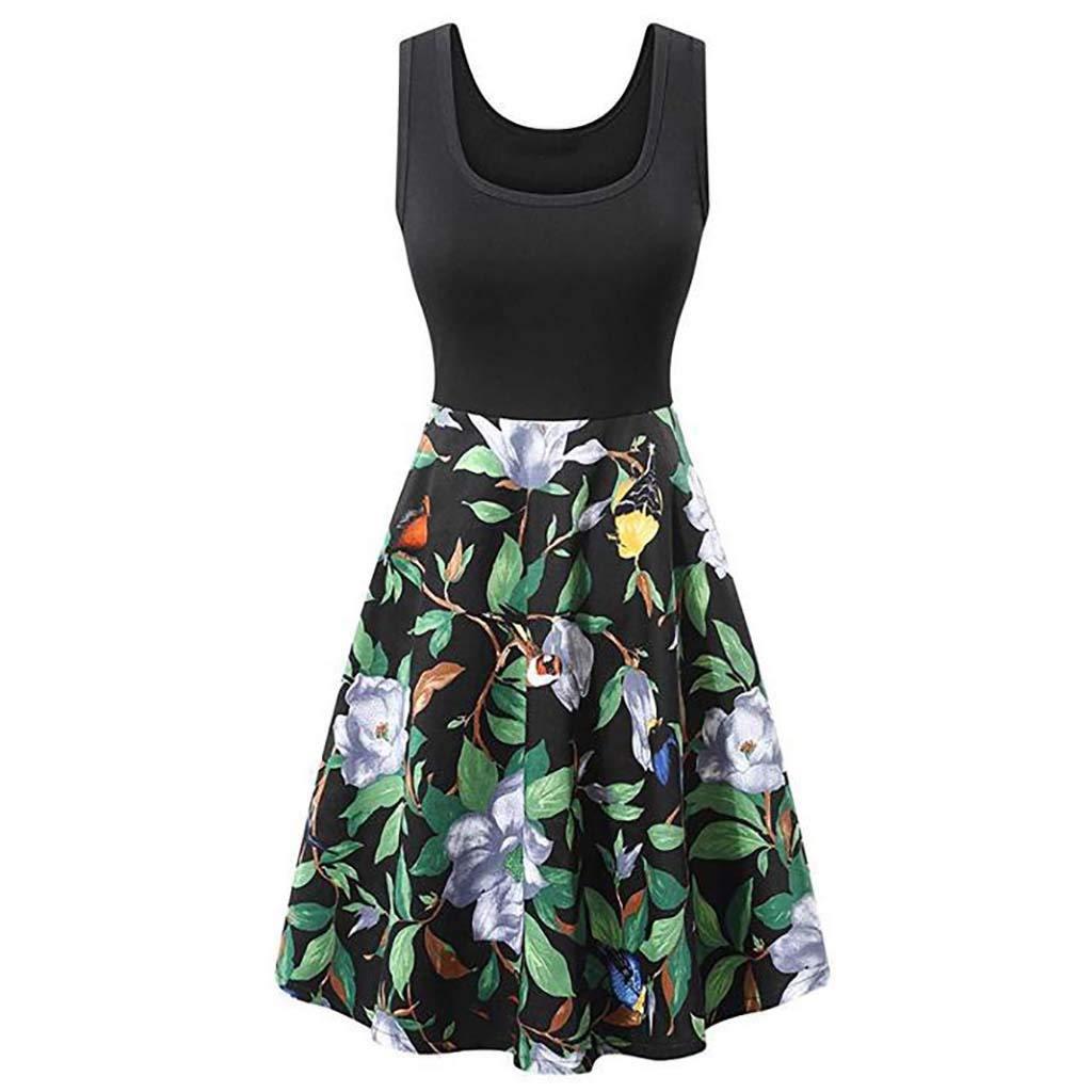 Women's Vintage Elegant Scoop Neck Midi Dress Sleeveless A-line Cocktail Party Tank Dress Women's Summer Loose Dresses Casual Short Dress Waistline Flared Tank Midi Dress (XL, Black) by succeedtop Women