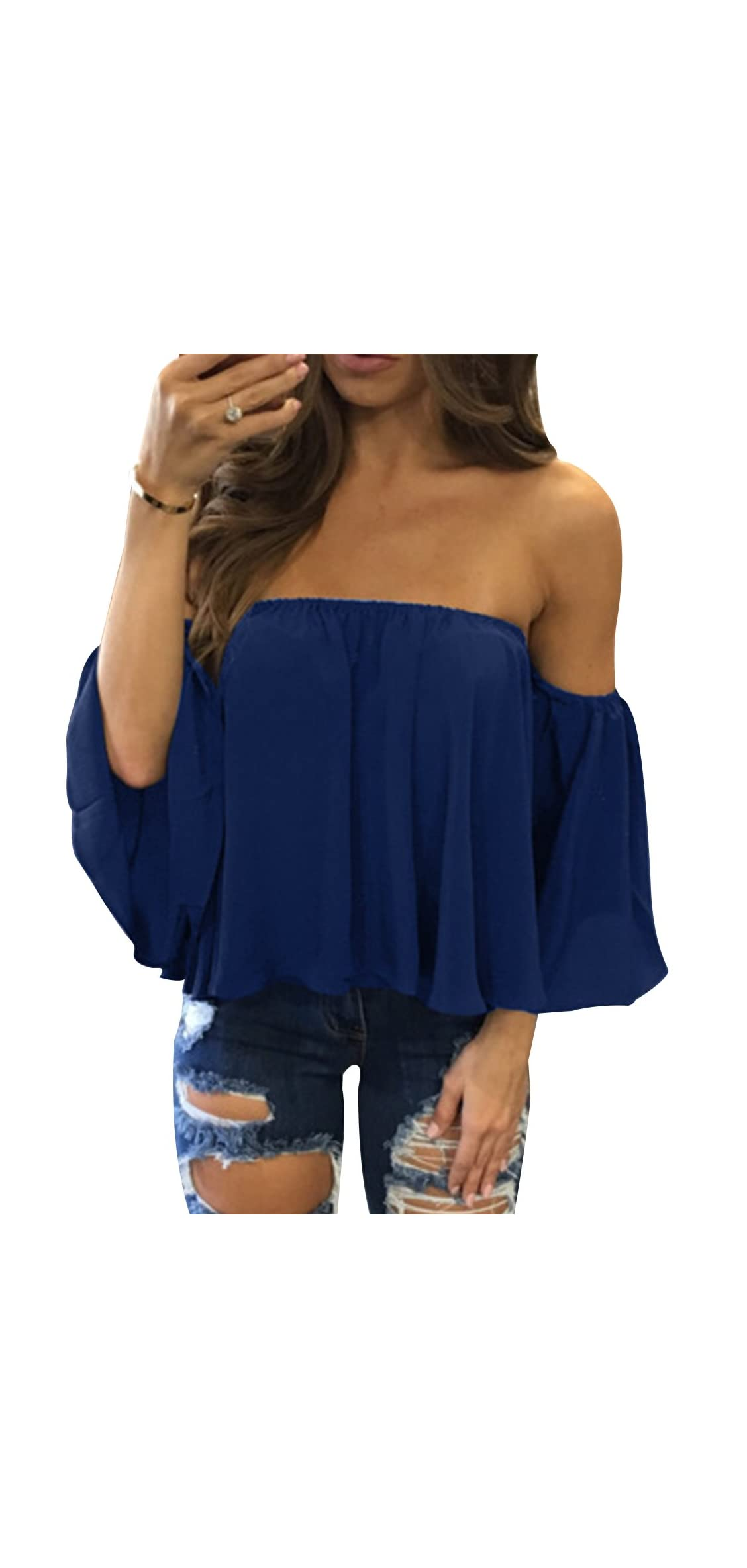 Women's Summer Off Shoulder Blouses Short Sleeves Sexy Tops T