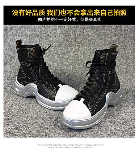 Los Shukun De Casual Silver Martin Combinan Planos Zapatos Black Pu Color Planas Botas Botines Con And Cordones Que vRYrv7q
