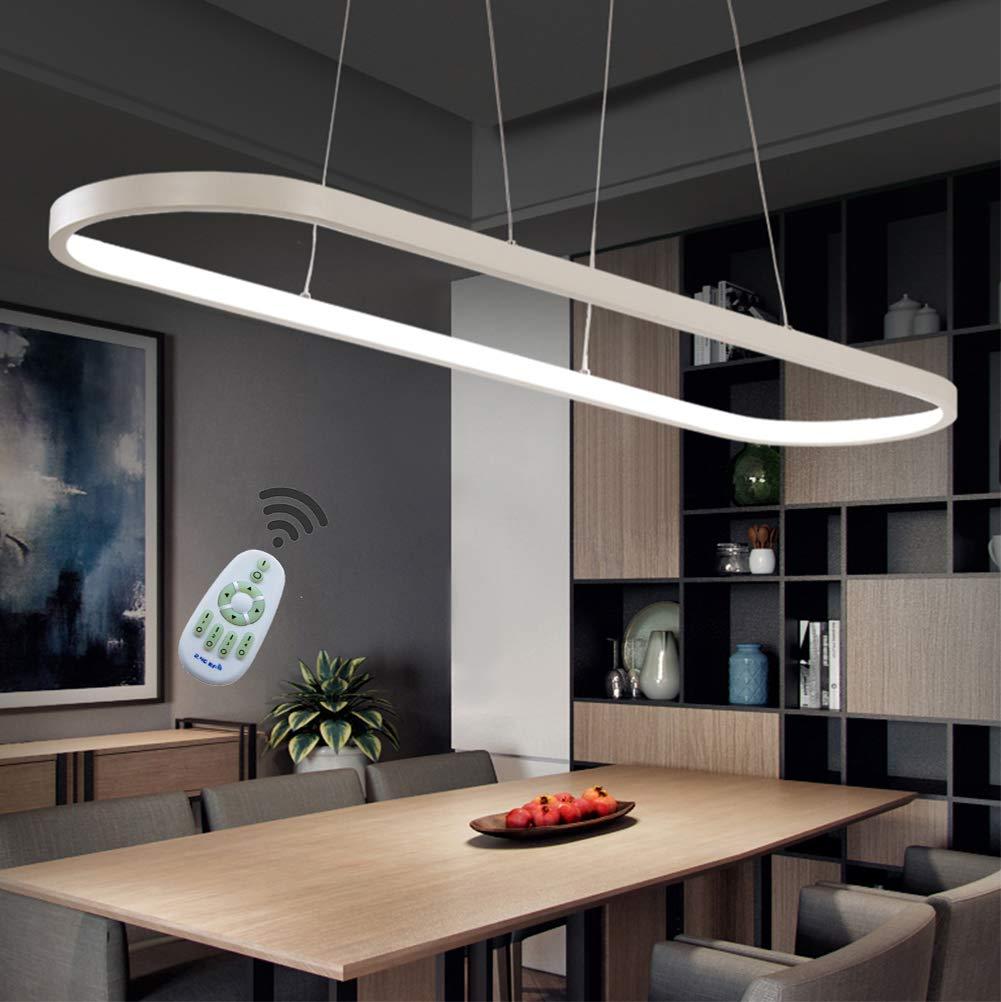 Pendelleuchte LED Dimmbar Esstisch Pendellampe, Landhaus Stil Büro Deckenleuchte, mit Fernbedienung Design Lampen Acryl Lampenschirm Kronleuchter für Wohnzimmer Schlafzimmer Esszimmer Küche (Weiß)