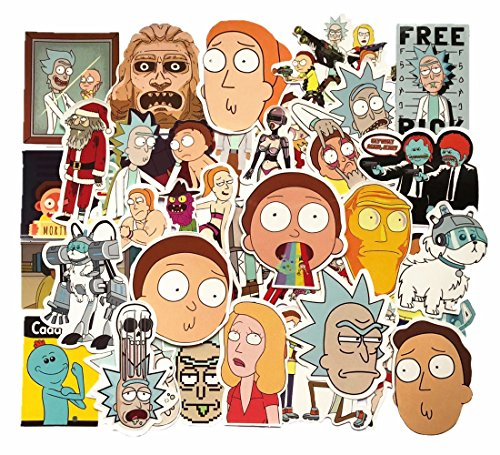 Red Guitar Skin (Funny Rick and Morty Stickers Waterproof Vinyl For Laptop Skateboard Pad Macbook Car Snowboard Bicycle Luggage Diy Decal Decor(35Pcs))