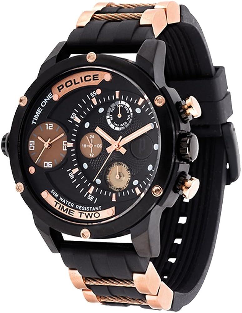 Police Reloj Multiesfera para Hombre de Cuarzo con Correa en Caucho PL14536JSB.02PA