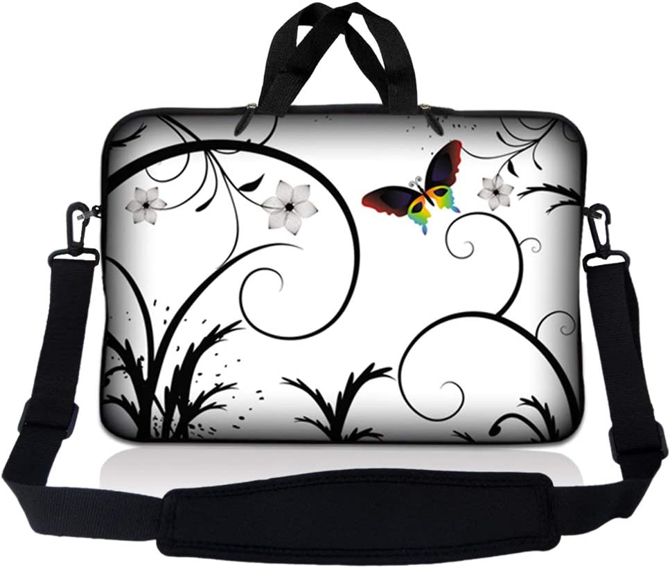"""LSS 13.3 inch Laptop Sleeve Bag Carrying Case Pouch w/Handle & Adjustable Shoulder Strap for 13.3"""" 13"""" 12.1"""" 12"""" Apple Macbook, GW, Acer, Asus, Dell, Hp, Sony, Toshiba, White Butterfly Escape Floral"""