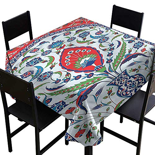 haommhome Restaurant Tablecloth Turkish Pattern Plant in a Vase Table Decoration W70 xL70 Washable Polyester - Great for Buffet Table, Parties, Holiday Dinner, Wedding & More