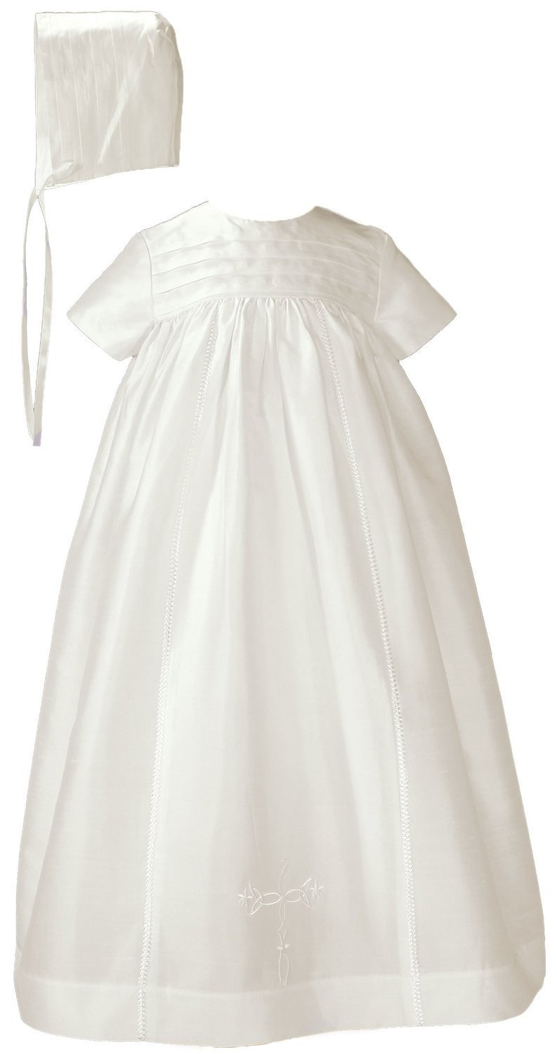 Little Things Mean A Lot 26'' Silk Dupioni Family Christening Baptism Heirloom Gown with Cross 3MO