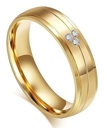 Anillos de boda de la pareja de acero inoxidable oro pulido CZ Rayas 2 tonos –