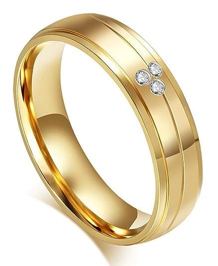 Anillos de boda de la pareja de acero inoxidable oro pulido CZ Rayas 2 tonos - Adisaer Joyería - GoldRich562, Dorado: Adisaer: Amazon.es: Deportes y aire ...