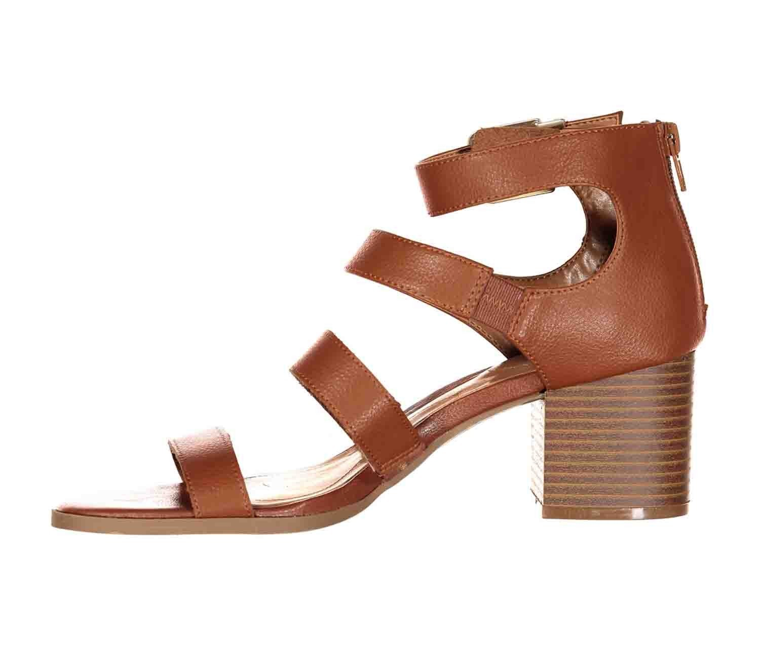 Style & Co. Womens Naomii Open Toe Casual Strappy Wedges Sandals Umber 8.5