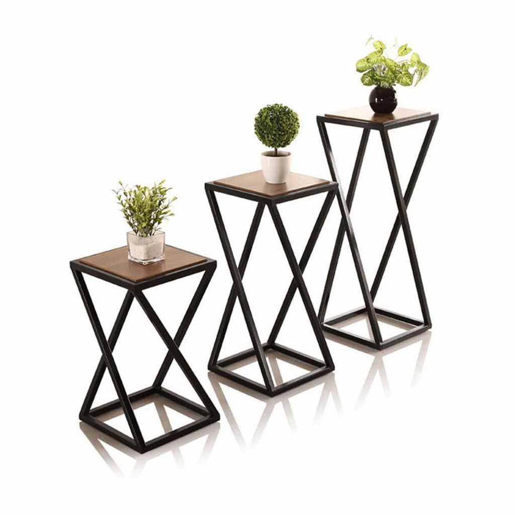 花植物ポットスタンドラックメタルリビングルームバルコニーガーデンパティオスタンドプランターホルダー屋内屋外アイロン+木製装飾ディスプレイシェルフ (サイズ さいず : S s) B07D9KT2PR S s  S s