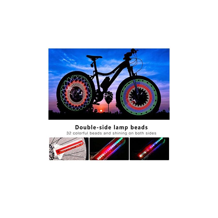 TINANA Bike Wheel Lights, LED Waterproof Bicycle Spoke Light 32 LED 32pcs Changes Patterns Bicycle Rim Tire Lights for Mountain Bike/Road Bikes/BMX Bike/Hybrid Bike/Folding Bike